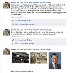 """Screenshot der Facebookseite """"Gegen die Jagd auf Dr. Karl-Theodor zu Guttenberg"""", 19. Februar 2011"""