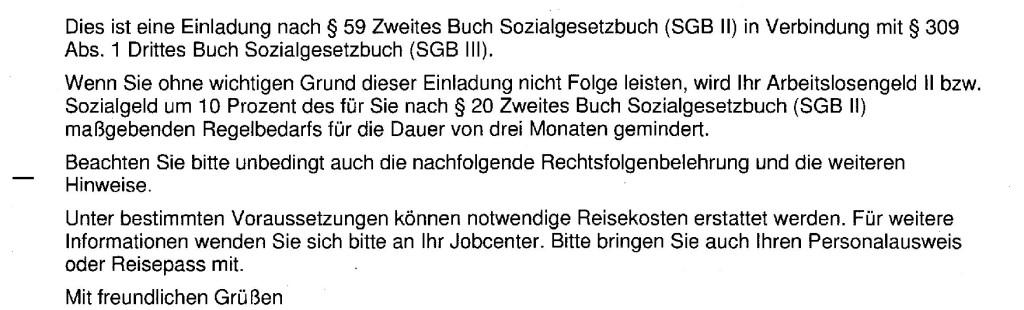 Vorladung Jobcenter