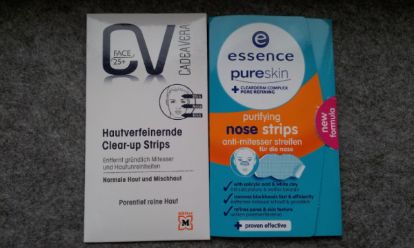 CV Hautverfeinernde Clear-up Strips und essence purifying nose strips nebeneinander